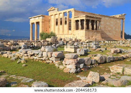 Evening sunlight on the western facade of the Erechtheion temple on the Athens Acropolis, Greece - stock photo