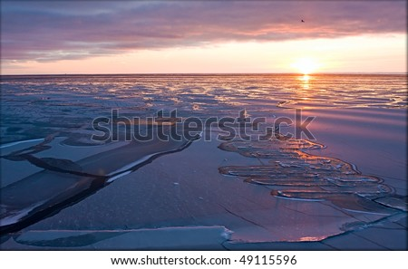 Evening sunset in the Arctic Sea - stock photo