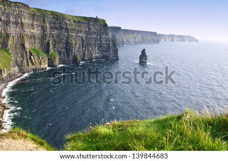 evening sunset over famous cliffs of moher county clare, ireland - stock photo