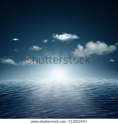 Evening time on the ocean, natural backgrounds - stock photo
