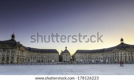 evening time view statue of place de la bourse, Bordeaux France - stock photo