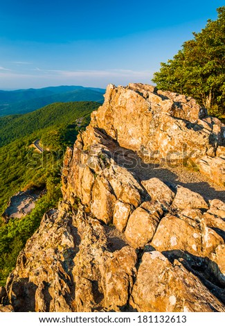 Evening view from Little Stony Man Cliffs in Shenandoah National Park, Virginia. - stock photo