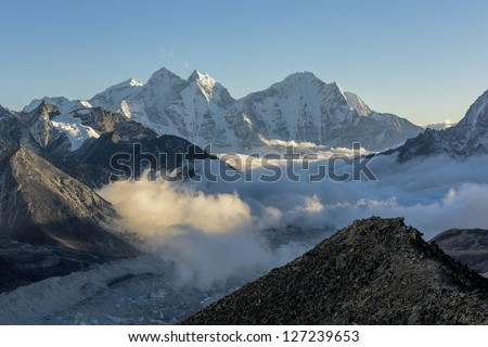 Evening view from the Kala Patthar to the south - Everest region, Nepal - stock photo