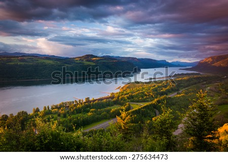 Evening view from the Vista House, Columbia River Gorge, Oregon. - stock photo