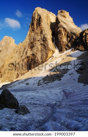 evening view in pale di san martino - cima di focobon - dolomiti italy - stock photo