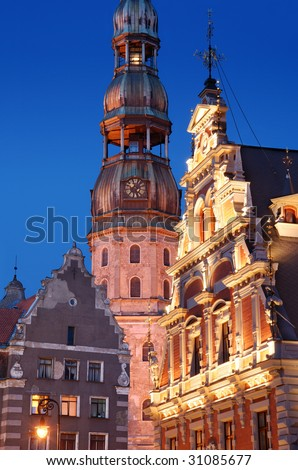 Evening view of a fragment of the old Riga, Latvia. - stock photo