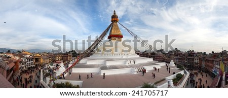 Evening view of Bodhnath stupa - Kathmandu - Nepal - stock photo