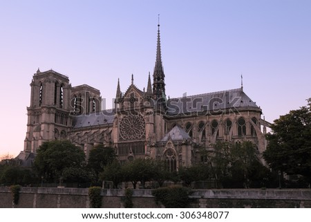 Evening view of Cathedral of Notre Dame de Paris at sunset, France - stock photo