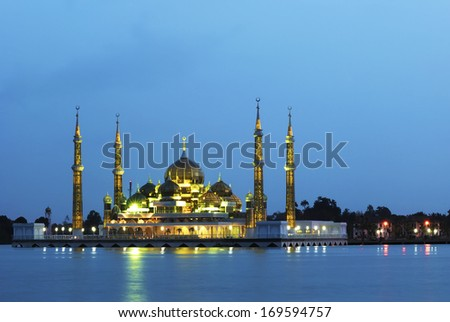 Evening view of crystal mosque in Kuala Terengganu, Malaysia ( Blue hour ) - stock photo