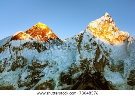 Evening view of Everest and Nuptse from Kala Patthar - stock photo