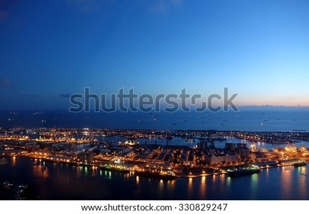 Evening view of Kaohsiung Port and Chijin Island    - stock photo