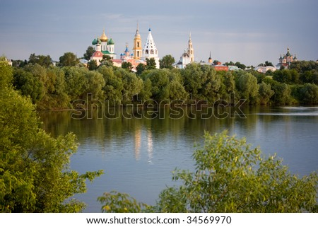 evening view of Kolomna town from the bank of the river - stock photo