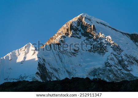 Evening view of mount Cho oyu from Gokyo Ri - way to Mt. Everest base camp - Nepal - stock photo