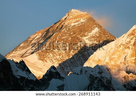 Evening view of Mount Everest from gokyo valley, way to Mount Everest base camp, Sagarmatha national park, Khumbu, Nepal - stock photo