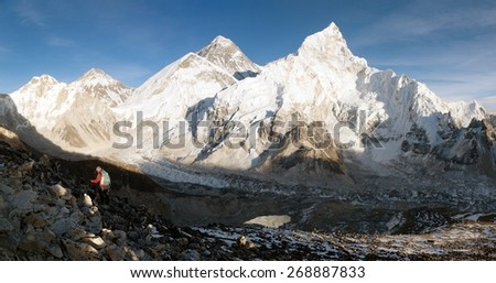 Evening view of Mount Everest from Kala Patthar - way to Everest base camp - sagarmatha national park - Nepal  - stock photo