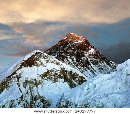 Evening view of Mount Everest from Kala Patthar with beautiful clouds - way to Everest base camp - Nepal  - stock photo