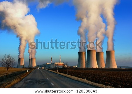 evening view of nuclear power plant Dukovany - Czech Republic - stock photo