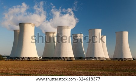 Evening view of Nuclear power plant Jaslovske Bohunice - Slovakia - stock photo