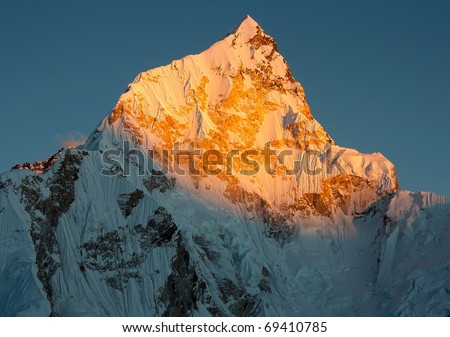evening view of nuptse from kala patthar - stock photo