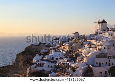 evening view of Oia village, Santorini, Greece - stock photo