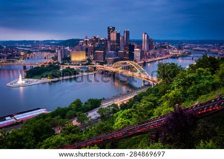 Evening view of Pittsburgh from the top of the Duquesne Incline in Mount Washington, Pittsburgh, Pennsylvania. - stock photo