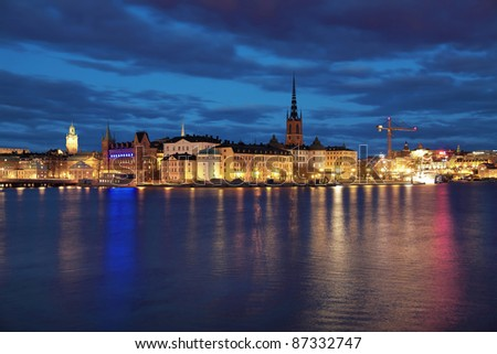 Evening view of Riddarholmen island and Gamla Stan in Stockholm, Sweden - stock photo