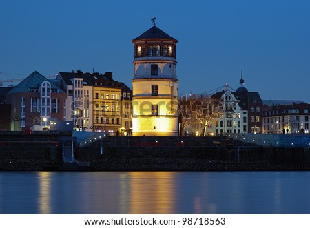 Evening view of Schlossturm (the extant tower of Dusseldorf castle), Dusseldorf, Germany - stock photo