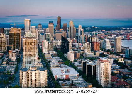 Evening view of the downtown Seattle skyline, in Seattle, Washington. - stock photo
