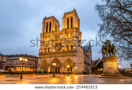 Evening view of the Notre-Dame de Paris - France - stock photo