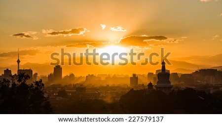 Evening view on the western part of Beijing - stock photo