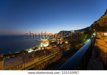 Evening view over Monte Carlo, Monaco, Cote d'Azur, Mediterranean, Europe - stock photo