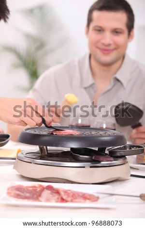 evening with friends at home - stock photo