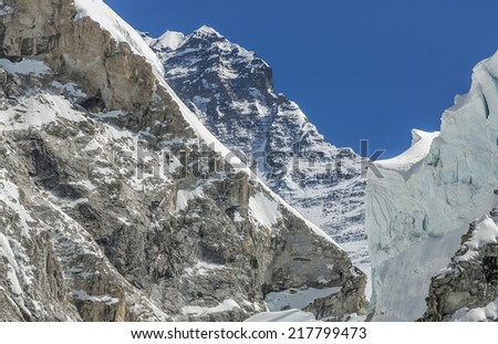 Everest and Khumbu glacier, the legendary track of the conquer peaks, view from EBC - Nepal, Himalayas - stock photo