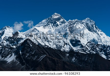 Everest, Changtse, Lhotse and Nuptse peaks: top of the world. Travel in Nepal - stock photo