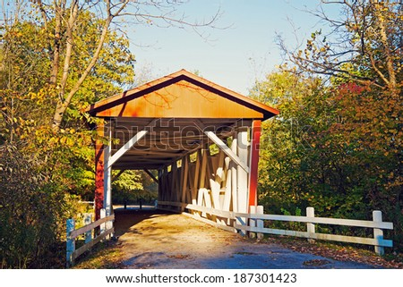 Everett Road Covered Bridge - Cuyahoga Valley National Park - stock photo