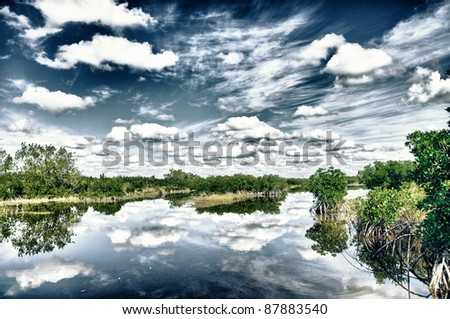 Everglades mood with water and clouds in hdr - stock photo
