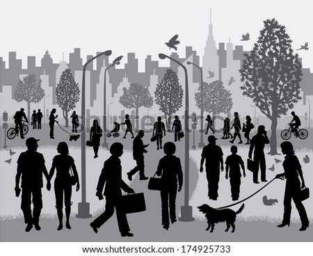 Everyday People in a City Park Silhouettes of people walking in a city park with the city in the background. - stock photo