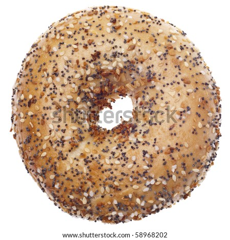 Everything Bagel Isolated on White with a Clipping Path. - stock photo