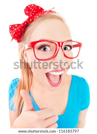 Everything is ok - funny girl with thumb up - stock photo