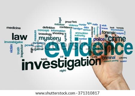 Evidence word cloud - stock photo