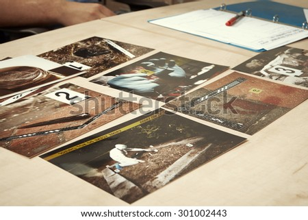 Evidences of serial murders - stock photo