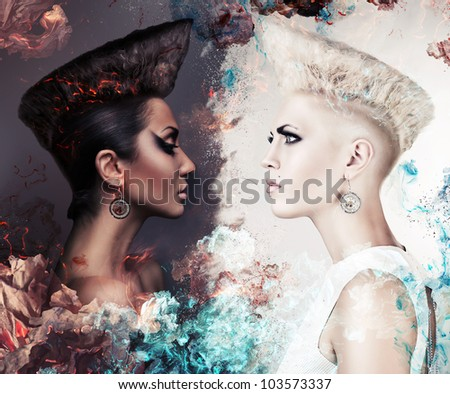 evil and good women - stock photo