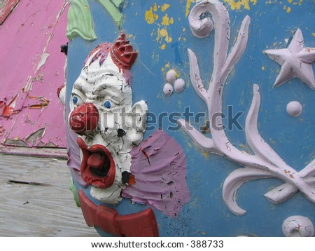 Evil Clown carnival ride - stock photo