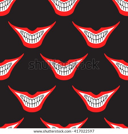 Evil clown or playing card joker smile seamless pattern. Creepy, scary smiles with red painted lips and bared teeth texture. Fool's Day or Halloween funny, irony endless background. Raster version. - stock photo