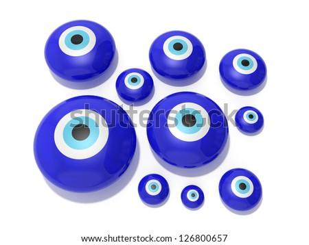 Evil eye amulet on a white background - stock photo