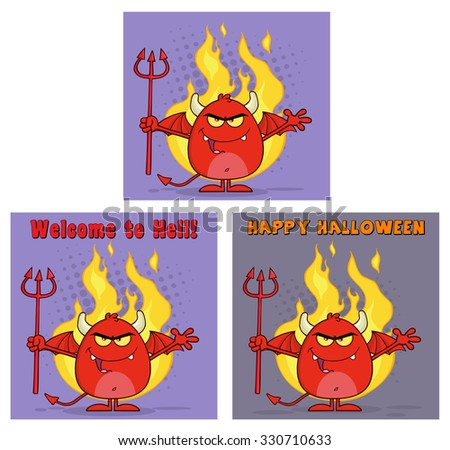 Evil Red Devil Cartoon Character Holding A Pitchfork Greeting Cards. Raster Collection Set - stock photo