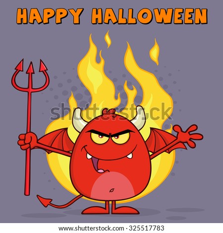 Evil Red Devil Cartoon Character Holding A Pitchfork Over Flames. Raster Illustration Greeting Card - stock photo