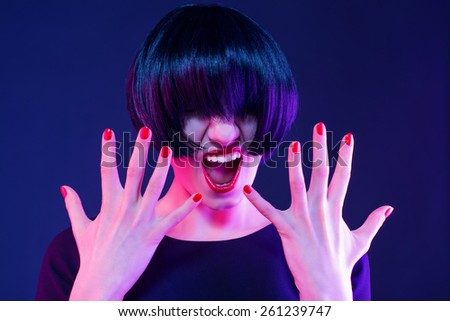 evil woman. depression, bad mood - stock photo