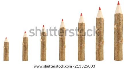 Evolution concept.Colorful wooden pencils isolated on white - stock photo