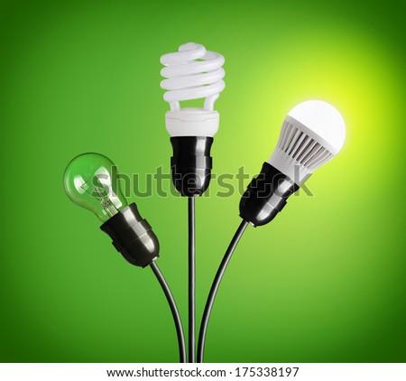 Evolution of light bulbs - stock photo